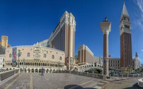 Картинка Paradise, мост, здания, башня, Лас-Вегас, панорама, фонтан, архитектура, Невада, колонна, Las Vegas, Nevada, Rialto Bridge, …