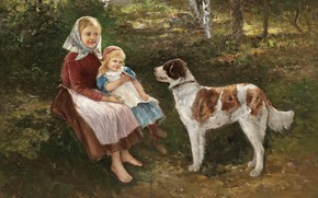 Обои шведский художник, Swedish painter, Йохан Северин Нильсон, Barn och hund, Дети и собака, Johan Severin ...