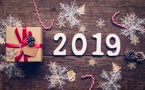 Картинка зима, снежинки, дерево, подарок, доски, Новый Год, new year, wood, winter, background, gift, snowflakes, decoration, ...