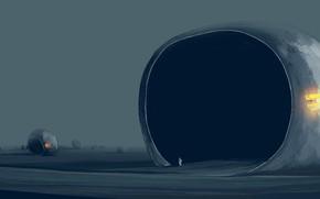 Картинка человек, скафандр, постапокалипсис, by Gracile, корабли-капсулы