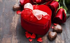 Картинка подарок, шоколад, розы, букет, лента, сердечки, день святого валентина, Natalia Klenova