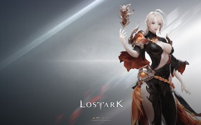 Картинка girl, game, magic, elf, magician, simple background, Lost Ark