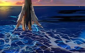 Картинка море, девушка, закат, ангел