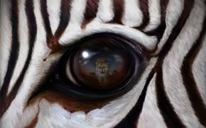 Картинка wallpaper, leopard, art, predator, eye, reflection, rendering, zebra