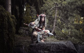 Картинка девушка, стиль, воин
