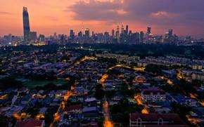 Картинка закат, ночь, город