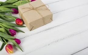 Картинка подарок, тюльпаны, wood, tulip