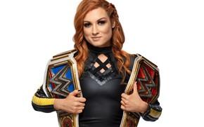 Картинка взгляд, поза, рестлер, hair, WWE, wrestling, пояса, Ребекка Нокс, Бекки Линч, Becky Lynch, SmackDown