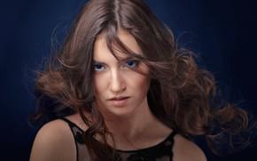 Картинка взгляд, лицо, фон, волосы, портрет, голубые глаза, локоны, Элина Суфьянова, Андрей Путилин