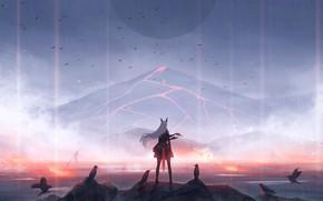 Картинка девушка, вулкан, лава, вороны