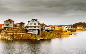 Картинка море, дома, Норвегия, панорама
