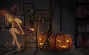 Картинка Halloween, колдовство, черный кот, светильник Джека, black cat, witch, склянки, шляпа ведьмы, ведьмочка, черная магия