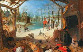 Картинка Flemish Baroque painter, Sebastian Vranckx, Себастьян Вранкс, An Allegory of Winter, фламандский живописец и гравёр …
