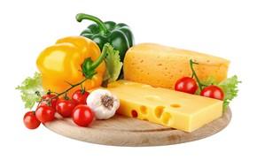 Картинка сыр, доска, перец, овощи, помидоры