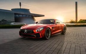 Картинка закат, рендеринг, Mercedes-Benz, AMG, CGI, GT R, 2019, by Ahmed Anas