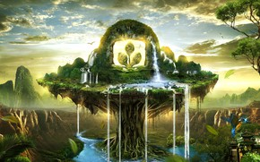 Картинка зелень, пейзаж, птицы, водопад, красота, фотоарт