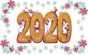 Картинка праздник, новый год, мышь, 2020, печенье имбирное, новый год 2020