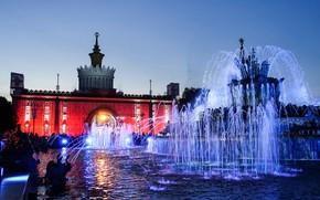 Картинка небо, огни, вечер, Москва, Россия, фонтаны