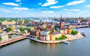 Картинка вода, здания, Стокгольм, Швеция