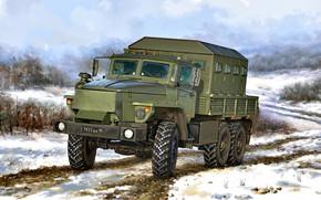 Картинка Снег, Россия, Звезда-В, Урал-4320, Армейский грузовик