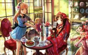 Картинка куклы, кресло, чаепитие, посуда, кимоно, букет цветов, играют, в комнате, цветы в вазе, за столиком, …