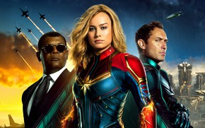 Картинка фантастика, постер, Джуд Лоу, комикс, костюмы, Jude Law, MARVEL, Nick Fury, Carol Danvers, Captain Marvel, …