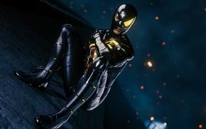 Картинка Spider-Man, PS4, Человек - паук, чёрный костюм, Spider-Man (PS4), разбитая маска