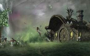 Картинка трава, девушка, полет, бабочки, цветы, поза, рендеринг, фантазия, поляна, грибы, ромашки, крылья, фея, фэнтези, труба, …