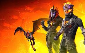 Картинка дракон, фэнтези, существа, двое, Fortnite