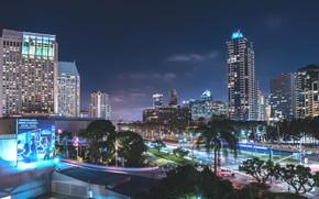 Картинка ночь, огни, Калифорния, США, Сан-Диего