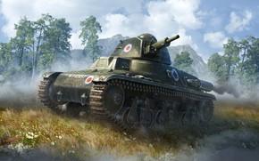 Картинка деревья, горы, природа, луг, танк, War Thunder