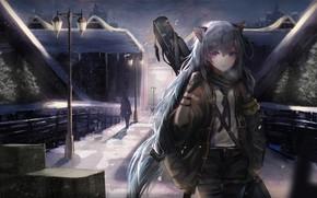Картинка девушка, оружие, фонарь, ушки