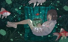 Картинка девушка, рыбы, аквариум