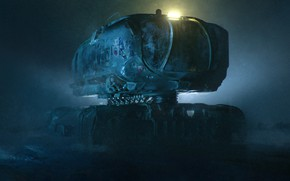 Картинка Ночь, Будущее, Art, Техника, science fiction, Фантастика, digital art, Illustration, Concept Art, Транспорт, scifi, Transport ...