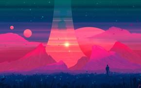 Картинка Горы, Скалы, Гора, Планета, Вид, Планеты, Fantasy, Пейзаж, Planets, Арт, Art, Landscape, Planet, Mountain, Фантастика, …