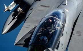 Картинка Фонарь, F-15, USAF, Истребитель-бомбардировщик, Пилот, F-15E Strike Eagle, Жест, AIM-9 Sidewinder