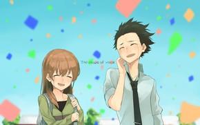 Картинка небо, праздник, девочка, парень, улыбки, Форма голоса, Koe No Katachi