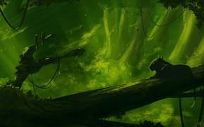 Картинка Зелень, Природа, Кошка, Лес, Зеленый, Хищник, Джунгли, Jungle, Fantasy, Nature, Арт, Art, Green, Predator, Фантастика, …