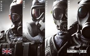 Картинка Противогаз, Британия, Солдаты, Rainbow Six, Smoke, SAS, Спецназ, Special Force, Mute, Rainbow Six Siege, Sledge, …