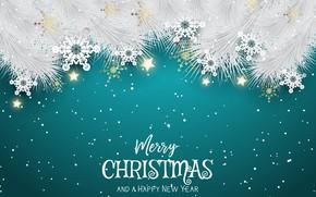 Картинка снежинки, фон, праздник, новый год