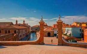 Картинка здания, дома, Италия, канал, мосты, Italy, Comacchio, Комаккьо, Trepponti Bridge, Мост Треппонти