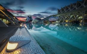 Картинка небо, облака, вечер, Испания, Валенсия, Город искусств и наук