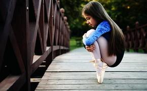 Картинка girl, long hair, beautiful, pretty, brunette, attractive, handsome, ballet dancer, little ballerina