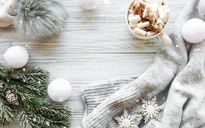 Картинка снег, украшения, Рождество, кружка, Новый год, new year, Christmas, винтаж, winter, snow, свитер, какао, cookies, …