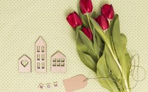 Картинка букет, тюльпаны, красные, композиция, День матери