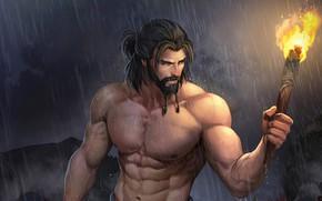 Картинка дождь, мужик, факел, борода