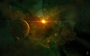 Картинка Солнце, Звезды, Планета, Космос, Туманность, Звезда, Планеты, Fantasy, Planets, Арт, Stars, Space, Art, Спутник, Planet, …