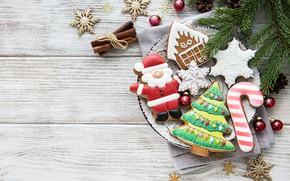 Картинка снежинки, праздник, новый год, печенье, фигурки, композиция, имбирное, Olena Rudo