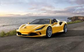 Картинка машина, вода, фары, Ferrari, спорткар, диски, Spider, Ferrari F8