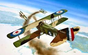 Картинка дым, Франция, истребитель, Fokker, Первая Мировая война, SPAD XIII
